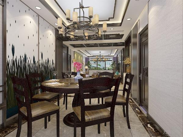 客餐厅采用木质传统软装以黑色为主搭配灰色地砖与大理石的影视墙,卧室采用传统木质镂空做装饰,墙面的挂画调节空间的视觉感,适合对传统生活向往的人,追求一种修身养性的境界。