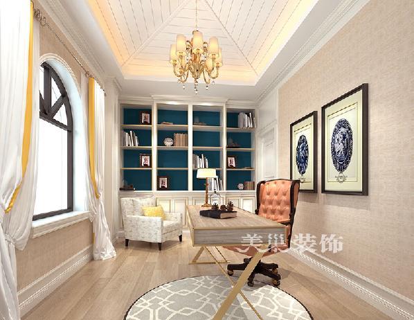 郑州自建430平方别墅美式乡村风格:书房 设计师微信:18860375285