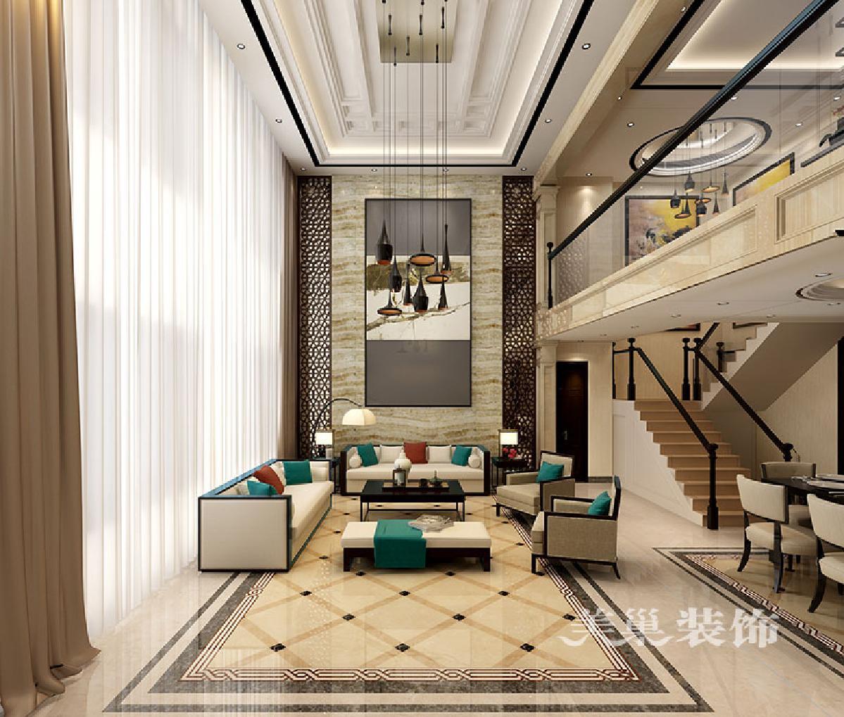 别墅新中式客厅装仹�b9��9f_普罗旺世龙之梦260平方别墅新中式会所:挑空客厅