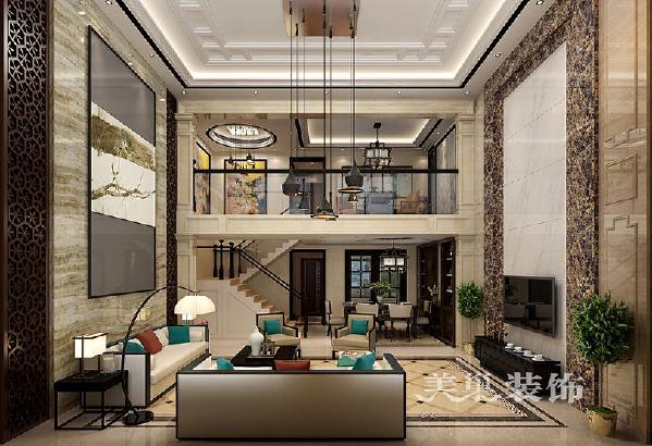 普罗旺世龙之梦260平方别墅新中式会所:挑空客厅