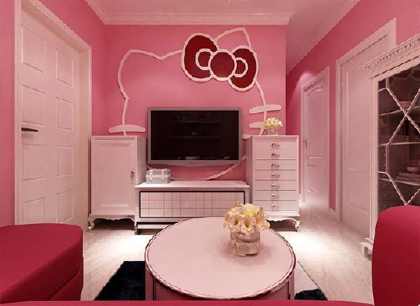 设计理念:电视背景墙大胆采用hello kitty的头像的线条造型,可爱且温馨。