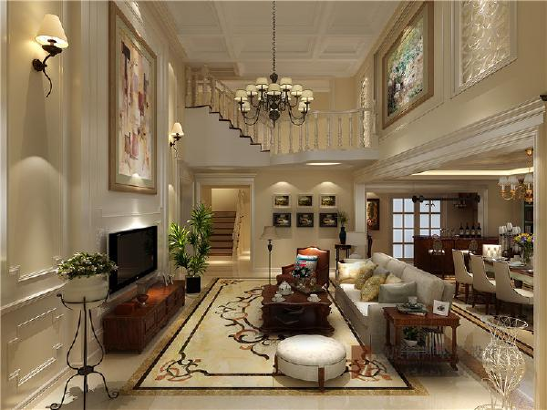 客厅属于纯美式的设计,但在木制品色彩的选择上年轻化了许多,而且在后期的软装的搭配上更加的现代化,这样给人整体的感觉就年轻了许多。