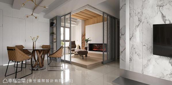 舍弃实墙隔间,怀生设计将客餐厅、书房、多功能空间和谐串联,延长视觉景深,开阔场域尺度。