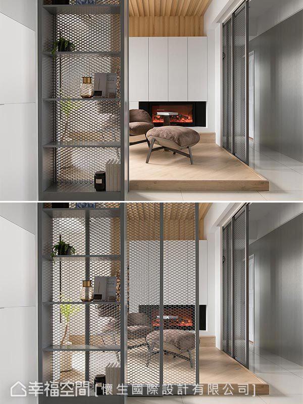 采铁扩张网打造穿透式拉门,结合展示铁柜与温润质地的木材形成强烈对比。