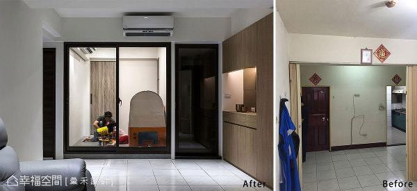 先前的老格局(右图)沿着梁下装设拉帘隔间,空间感相当压迫,改造后视线可以一路穿透至多功能室,相较之下就知道设计的巧妙。