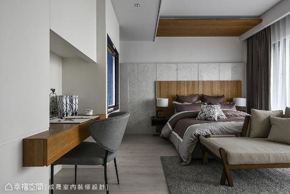 次卧室之一拥有全套房的高规格配置,大理石加衬木质的床头造型极为精致。