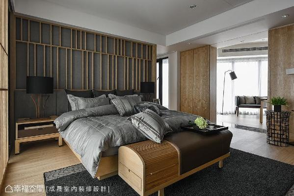 主卧室床头造型融合静谧的暖灰色调,覆盖其上的格栅线条则加添了和风韵味。