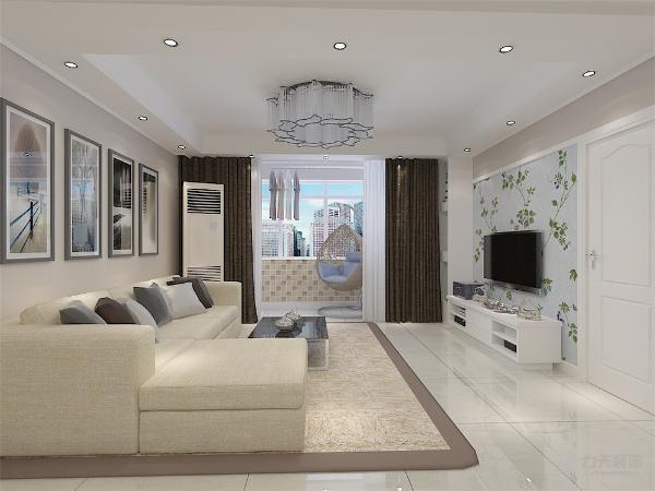 客厅中电视选择放置在电视柜上,简单方便,极具装饰性。靠墙位置放置浅灰色布艺沙发,与墙体颜色相呼应 。矩形的白色烤漆茶几。抱枕的蓝色点缀了整个空间的颜色又给人以舒适温馨的感觉。