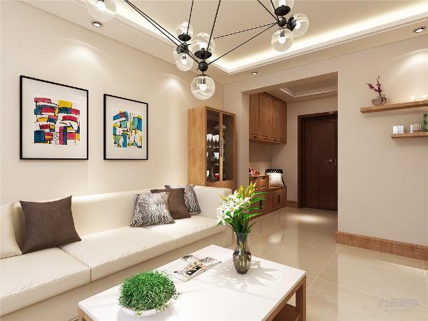 客厅的通透感,电视选择贴在墙上,电视柜造型简单方便,极具装饰性。靠墙位置放置浅色布艺沙发,与墙体颜色相对比,造成一种跳跃的感觉。浅木色茶几点缀了整个空间的颜色又给人以舒适温馨的感觉