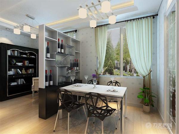 家具和壁纸都是相互辉映的,主要的色调是红白黑,这三种色彩结合在一起是能充分的搭配出家的味道。打通了书房与餐厅和客厅使整体的空间变大看上去更加的通透大气。