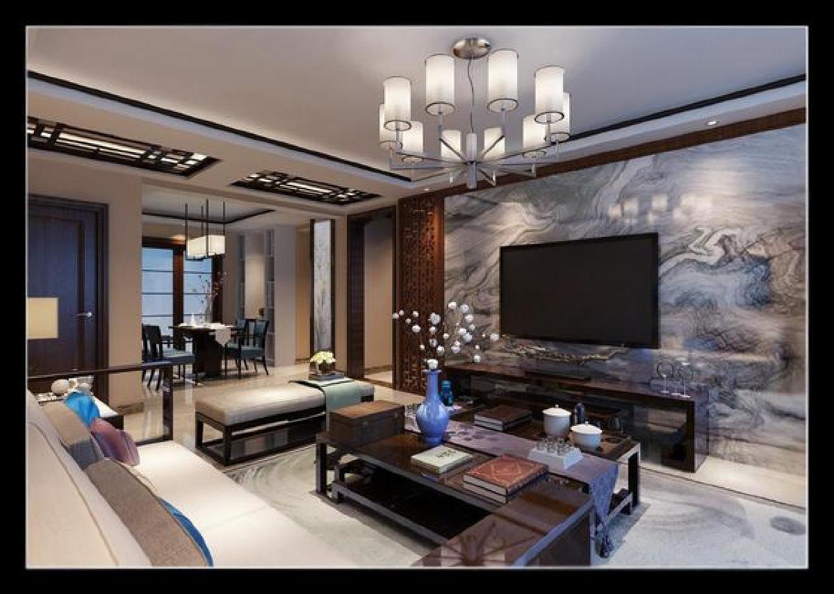 电视背景墙采用石膏造型窗格与玻璃,既简单又大方又体现现代中式风格