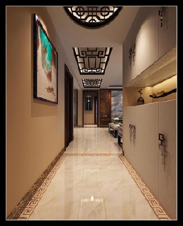保利拉菲公馆走廊装修效果图,定制入户柜,吊顶花格,挂