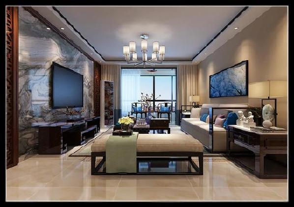 新中式客厅演绎大气的精神设计理念:将现代和传统元素结合在一起,以现代人的审美打造古典韵味的事物,运用简约大气的手法,为业主营造一处经典、气派的大居所,体现出主人优雅舒适的生活态度。