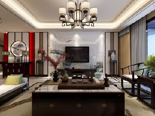 ▲客厅的电视墙以瓷砖拼接成中式水墨画,寄情于山水间之情愫。在中式家具的衬托下更显得清雅。