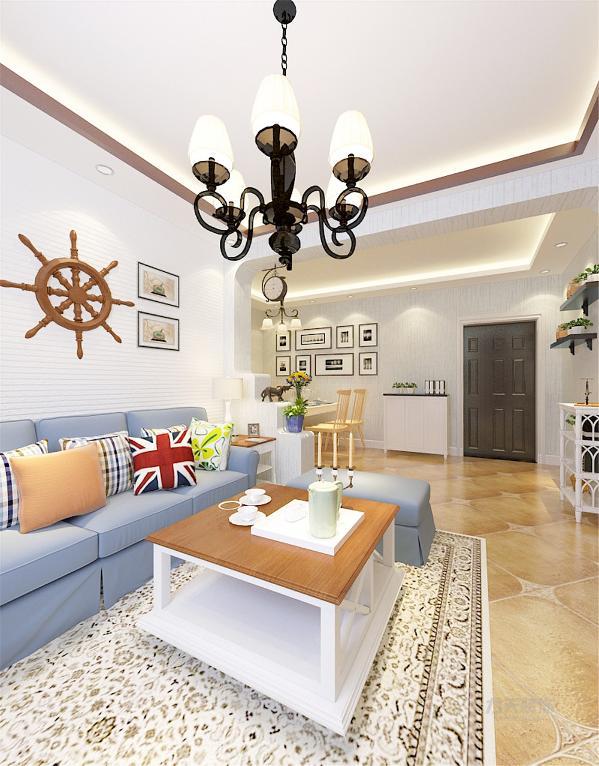 ,吊顶为石膏线圈顶的造型,通透灵动,沙发背景墙则以田园风格装饰品加以装饰,使空间很简洁、大方,富有节奏韵律。