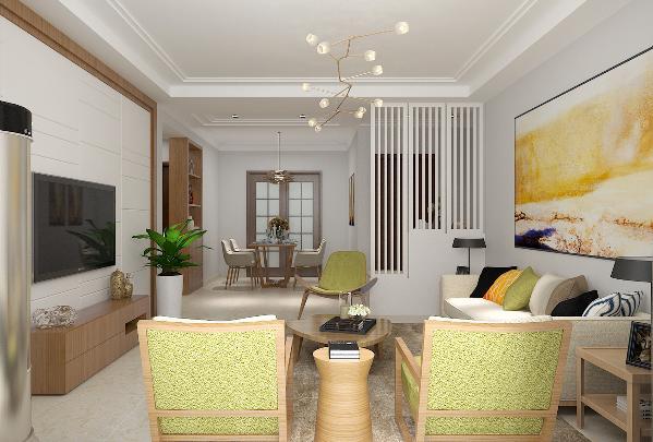 沙发背景墙搭配了彩色壁画,与简单明了的电视背景墙相得益彰,简单的吊顶设计使整个格局更加简洁时尚,在家具配置上,白亮光系列家具,独特的光泽使家具倍感时尚,具有舒适与美观并存的享受
