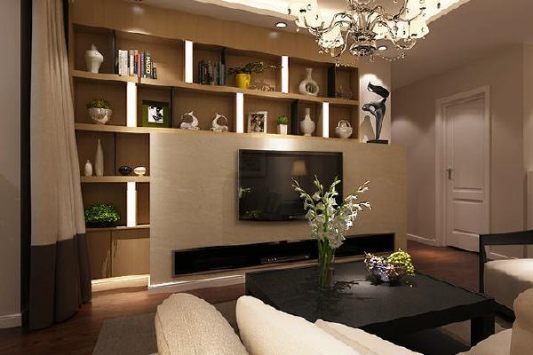 电视柜与博古架的巧妙搭配,在扩大了储物空间的同时,弥补了背景墙的空白。