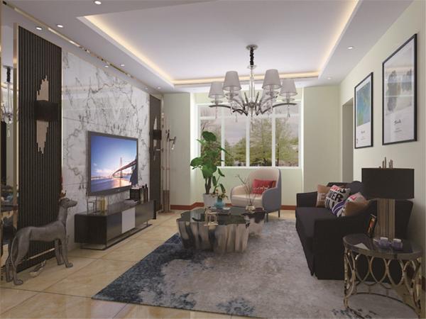 入户门开始,右手边方向首先是客厅,客厅视野开阔,采光充足,在客厅做了一个电视背景墙,以石材位主要材料,既大气有没观;客餐厅相对,通铺800*800地砖