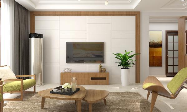 客厅代表着业主的品味,以年轻简约的现代风格装修,搭配原木色茶几,结合白色质感的电视墙,搭配抹茶绿的布艺沙发,整个空间都显得简洁大方又年轻时尚