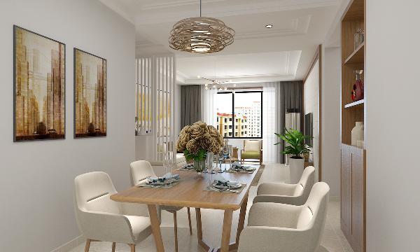 餐厅的靠墙装饰采用木饰装饰,灰木色与榆木色餐桌木地板搭配,显得自然舒适的感觉;摆上装饰品后,显得优雅情趣又实用