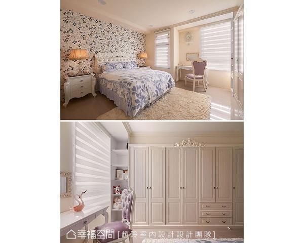 床头墙面选用浪漫的自然风情壁纸,打造怡然雅致的梦幻城堡,是女孩想望的理想空间。