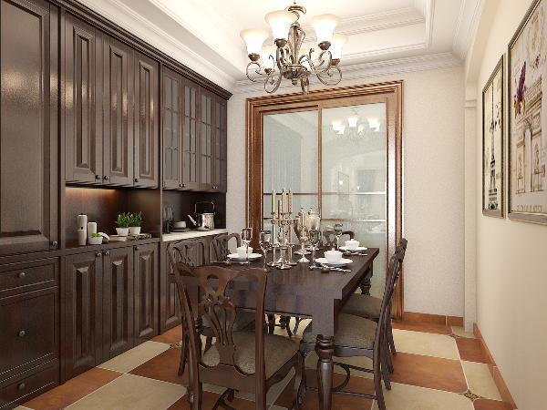 美式的厨房开放式的比较多一些,考虑大多是功能性强大且简单耐用的餐具设备,喜仿古砖,橱具门板喜好用实木门扇或白色模压门扇仿木门色