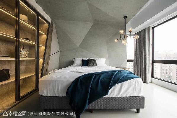 床头采清水模描绘几何图形,并以颜色深浅勾勒场域立体视觉,围塑空间层次。