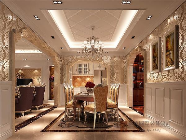 门厅圆形的地面拼花呼应圆形的吊顶,背景墙以对称的形式表现空间感,半柜让空间更为通透。