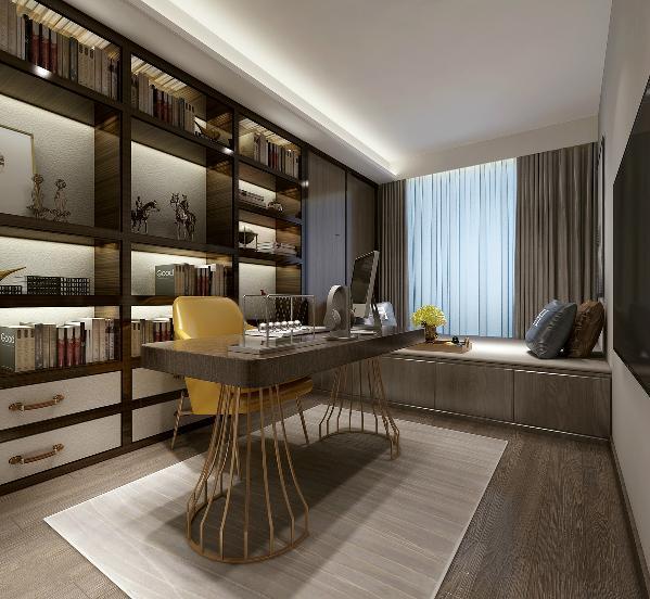 功能厅,顾名思义,在功能上承担了诸多可能:休闲、阅读、储物甚至会客。所以该空间整体效果以简洁大方为主,但同时又要照顾不同年龄阶段的使用者,所以颜色上做的稍微活泼一些:明黄色的座椅、孔雀蓝的抱枕等等。