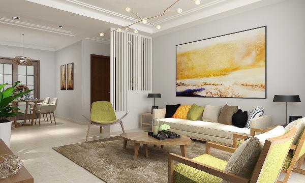 沙发墙搭配了彩色的壁画,与简单明了的电视墙相得益彰,简单的吊顶设计使整个空间格局更加的简洁