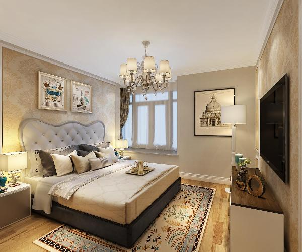 间的床头背景墙和电视背景墙的壁纸,及主色调都以暖色为主。地板采用原木色纹理的实木复合地板,再加上具有田园收获寓意的毛毯。