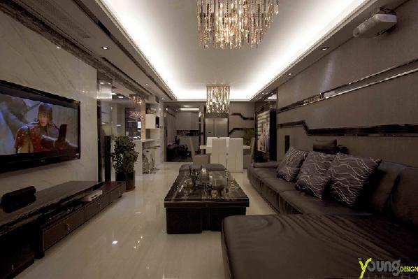 【深圳漾空间设计有限公司】漾设计Young Design——客厅广角通过简洁的线条表现设计概念,让空间有秩序感。