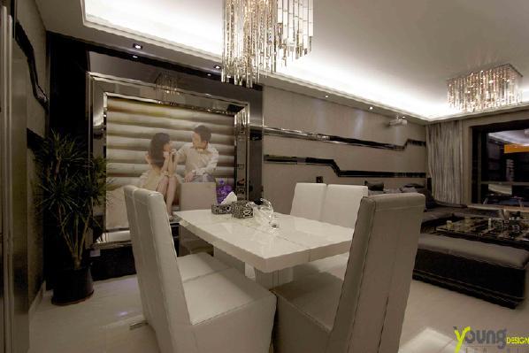 【深圳漾空间设计有限公司】漾设计Young Design——餐厅沙发背景及其他墙面用折线条来整体延续