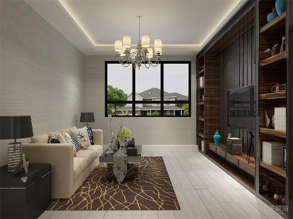 客餐厅地面通铺地板,客厅墙面贴壁纸,电视背景墙设计了书柜