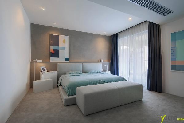 【深圳漾空间设计有限公司】漾设计Young Design——卧室。去掉了冗杂的华丽,简单的东西天生就能表达真实的一面。立体构成的挂画,配合简单的几何柜体,自然成景,无需修饰。