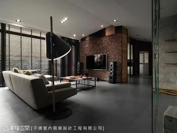 子境设计采火头砖砌筑电视主墙,为居家形塑微工业感氛围。
