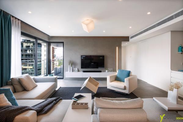 【深圳漾空间设计有限公司】漾设计Young Design——客厅,以简洁的黑白灰关系为主色调,穿插青灰色为空间亮色,在黑白中透露一丝小俏皮,无比清新。
