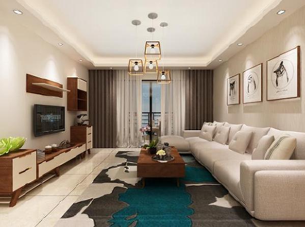 客厅,在简单的选材之中就凸显了它的高雅,如同人的气质一般。客厅算是对一个家的第一印象,它展现的是一个家整体的氛围与风格。吊灯算是整个客厅的一大特色,整体看来简单而不失华丽。