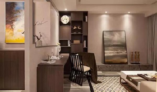 为了满足主人的书房需求,在客厅角落摆上一套书桌椅,这个书桌同时还有着隔断客餐厅空间的功能,透过这个框架看餐厅,禅意十足