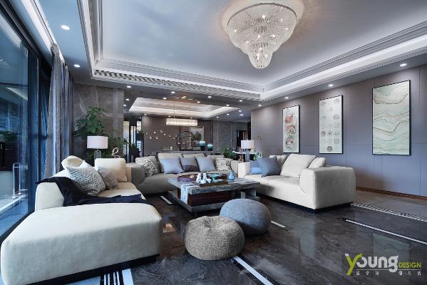 【深圳漾空间设计有限公司】漾设计Young Design——客厅业主希望设计能够体现奢华感,但又不希望奢靡。加之业主平时爱喝茶,客厅除了水晶灯外,还特别在多处使用了酸枝木材料。