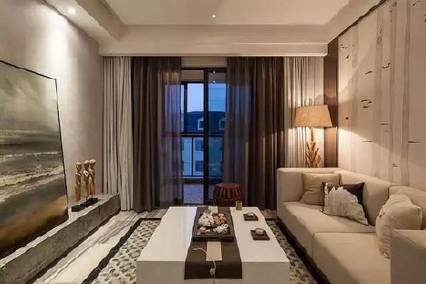 现代风格为基础的客厅,以布艺沙发搭配简约的窗帘与沙发墙,在茶几、电视墙的细节上融入中式的元素,禅意十足
