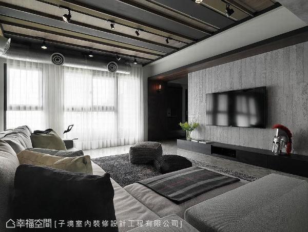 配合清水模壁面设计,电视墙刷以特殊涂料及纹路呼应空间调性。