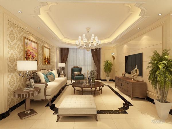 客厅用家具和软装饰来营造整体效果,深色的像木和枫木家具,还有浪漫的罗马帘,精美的油画,制作精良的雕塑工艺品,都是点染欧式风格不可缺少的元素。