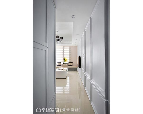 运用线板喷白手法创造连续性视觉美感,造型一路延伸至室内,让视觉绵延无断点。