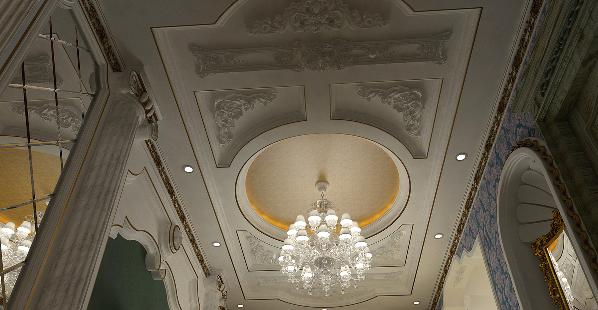 餐厅的吊朋没有客厅的精致,中心采用圆形吊朋,搭配金箔壁纸,当吊灯打开时金色的光晕洒下来,在搭配墨绿色的艺术墙面,仿佛处在艺术的殿堂里。