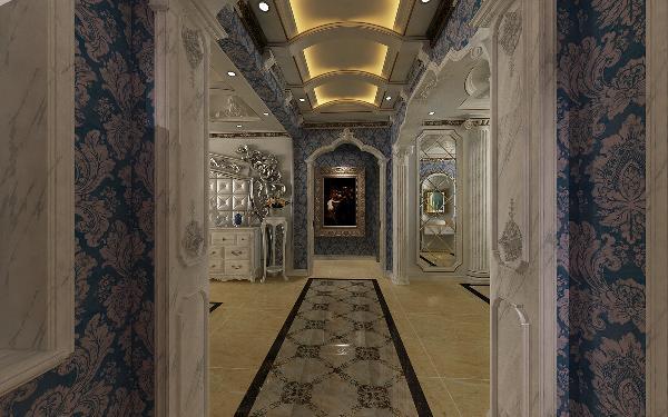 过廊的吊朋采用拱形向上处理,使得空间感更高,两边采用小的柱头来连接拱形棚,同时这个角度也可以看到垭口中心的雕刻来体现每一个细节的精细处理