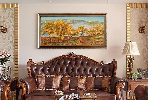 皮质沙发加上装饰画,颜色呼应,绝配!