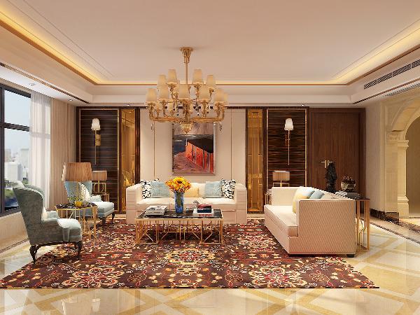 客厅以华丽的装饰,浓烈的色彩,精美的造型达到雍容华贵的欧式装修效果