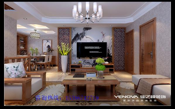漪汾华苑170平米新中式风格装修效果图----太原业之峰