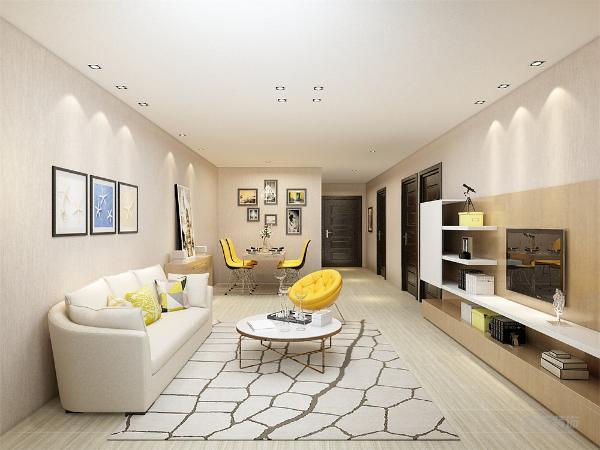 客餐厅和玄关走廊整体地面采用了原实木地板铺贴,这样说能扩大视觉空间,顶面不需要太多的修饰,所以统一采用白色石膏板吊的平顶,沙发背景墙没有浮华的修饰,一组简单的照片就能把整个背景墙装饰起来。